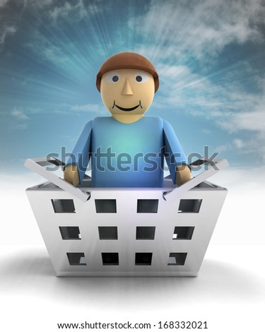 man figure character as trade merchandise with sky flare illustration - stock photo