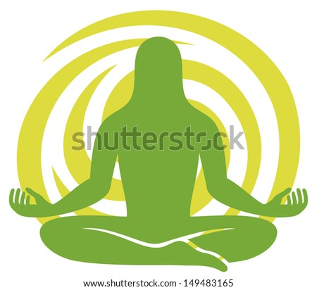 man figure meditating symbol (silhouette of a man meditating, man in yoga position, meditating man, yoga man sign, man meditating icon, yoga symbol) - stock photo
