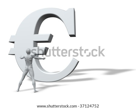 man figure with wide arms in front of a big euro sign - 3d illustration - stock photo