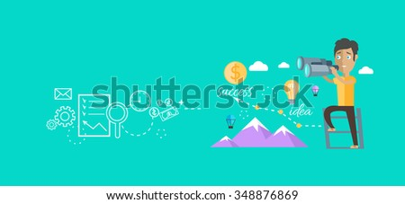 Man finding opportunities concept. Success business career, chance job or work, find and search, occupation and future, person look, vision professional illustration. Raster version - stock photo