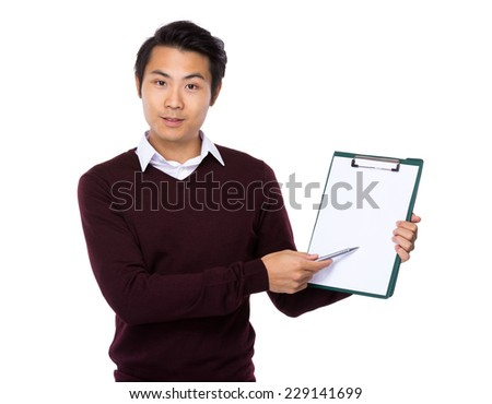 Man finger point to blank paper of clipboard