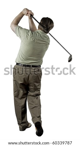 Man finishing his golf swing on a white background. - stock photo