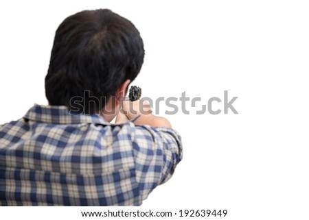 man firing gun, isolated on white background - stock photo