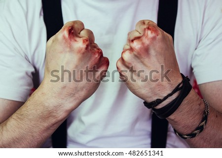 Man fists with blood