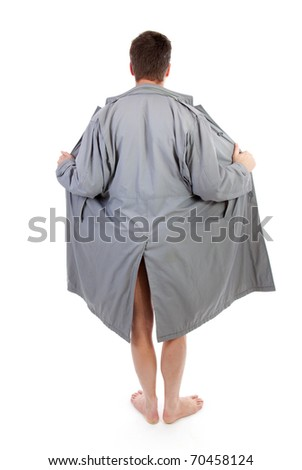 man flashes his naked body over white background - stock photo