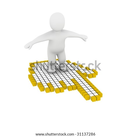 Man flying on computer mouse cursor. 3d rendered illustration.