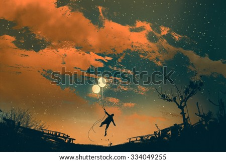 man flying with balloon lights at sunset,illustration painting - stock photo