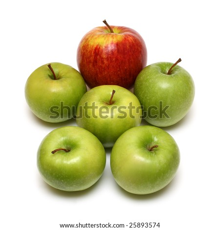 man form of apple fruits on white background