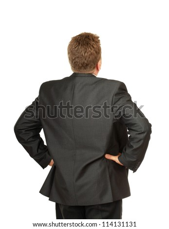 Man from back, isolated on white background - stock photo