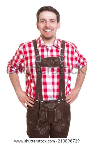 Man from Bavaria in leather pants is ready for the Oktoberfest - stock photo