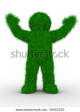 man from grass on white. Isolated 3D image