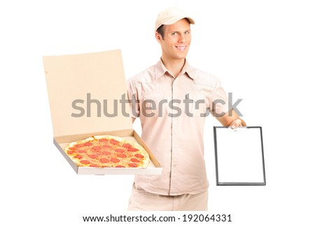 Man from pizza delivery service holding a clipboard isolated against white background - stock photo