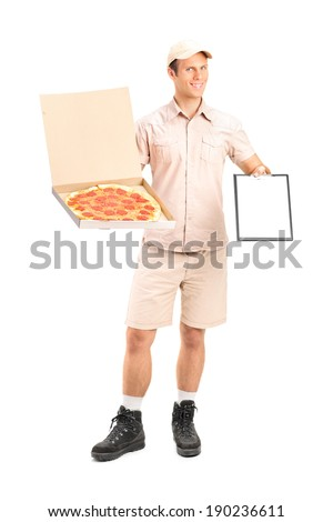 Man from pizza delivery service holding a clipboard isolated on white background - stock photo