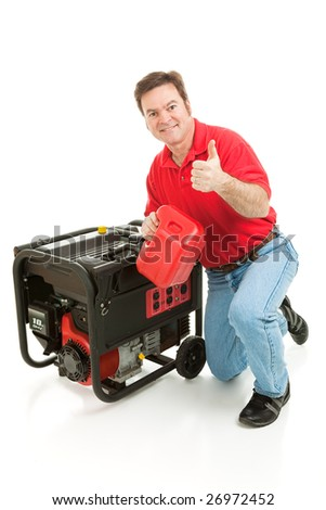 Man fueling his portable emergency generator gives thumbs up sign.  Isolated on white. - stock photo