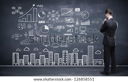 man full seeing at drawing global concept - stock photo