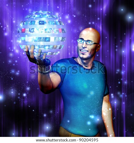 Man gazes into video sphere he is holding - stock photo