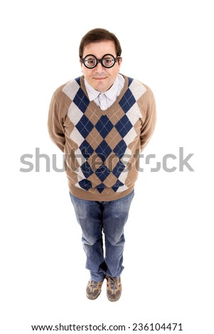 man geek full length, isolated - stock photo