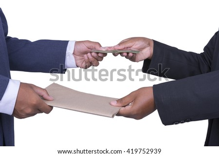 Man gently takes a bribe