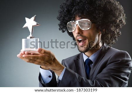 Man getting his star award - stock photo