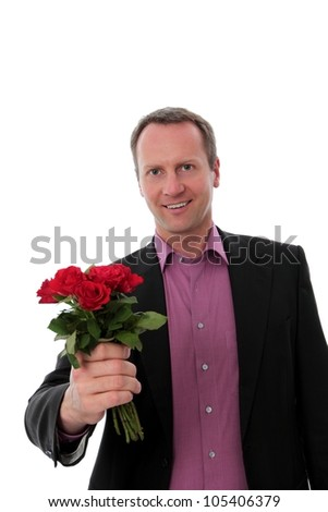 Man gives red roses - stock photo