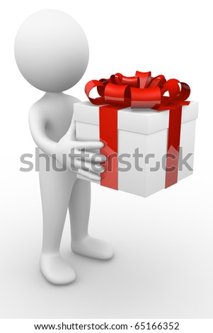 Man giving a gift - stock photo