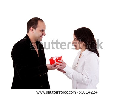 Man giving a gift to a woman, isolated on a white background - stock photo