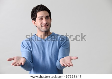 Man giving a helping hand - stock photo