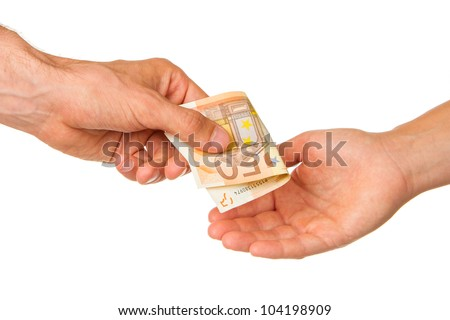 Man giving 50 euro to a woman, isolated on white - stock photo