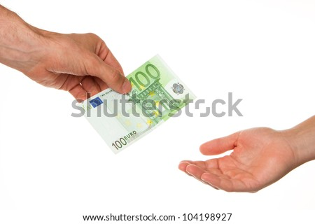 Man giving 100 euro to a woman, isolated on white