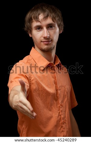 Man giving hand for shake - stock photo