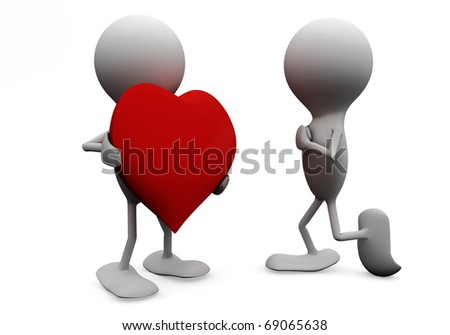 Man giving his heart to a woman. 3D love concepts. - stock photo