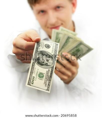 man giving one hundred dollars banknote isolated on white background - stock photo