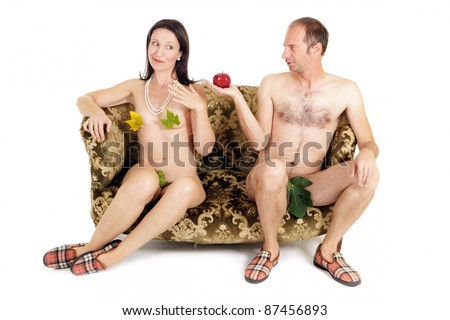 man giving red apple to woman, original sin concept - stock photo