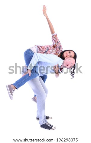 Man giving woman piggyback ride isolated on white background