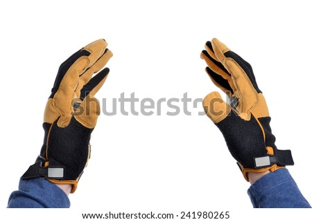 man gloved hands isolated on white background - stock photo