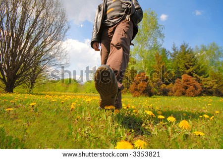 man goes after  green grass and park in footwear and presses flowers - stock photo
