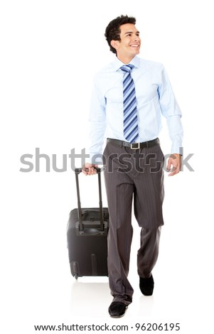 Man going on a business trip carrying bag - isolated over a white background - stock photo