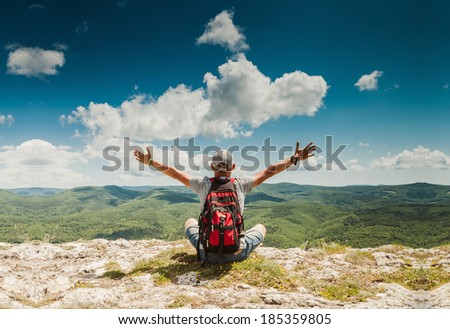 Man greeting amazing rich nature on the top of mountain - stock photo
