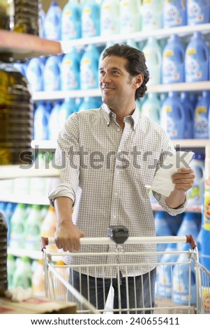 Man Grocery Shopping - stock photo