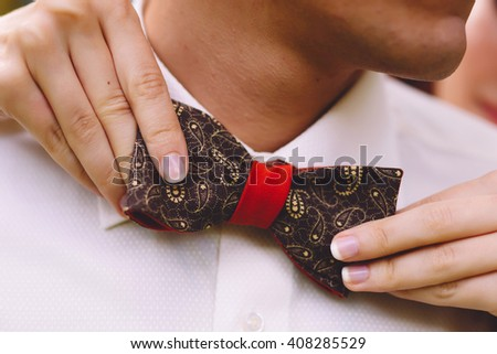 Man groom in wedding suit with bow tie. Hands bride, care, fix, adjust, fashion - stock photo