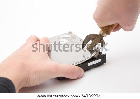man hacking the hard drive cover opener on white background - stock photo