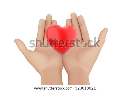 Man hand and  Red heart  isolated on white