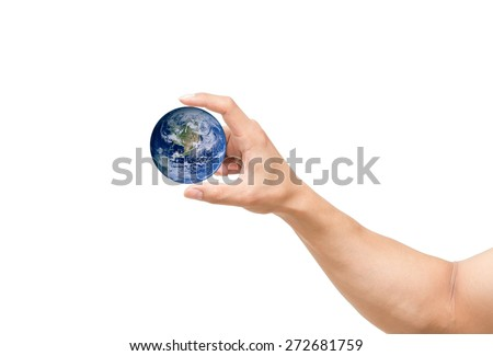 man hand catching the earth on white background, include clipping path, Elements of this image furnished by NASA
