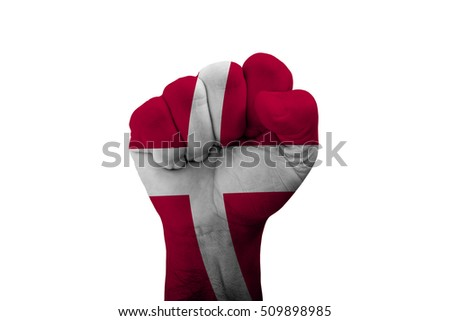 Man hand fist of DENMARK flag painted