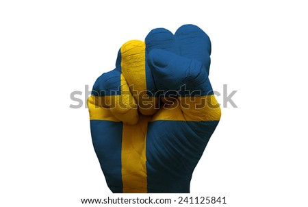 man hand fist painted country flag of sweden