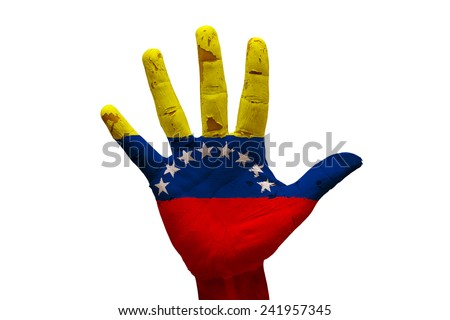 man hand fist painted country flag of venezuela - stock photo