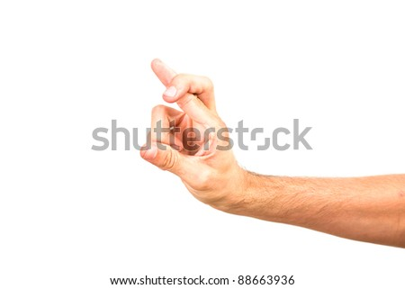Man hand forming sign by crossed fingers- male model hand isolated on white background - empty space for text - stock photo