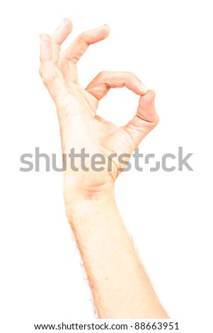 Man hand forming sign with his fingers- male model hand isolated on white background - empty space for text - stock photo