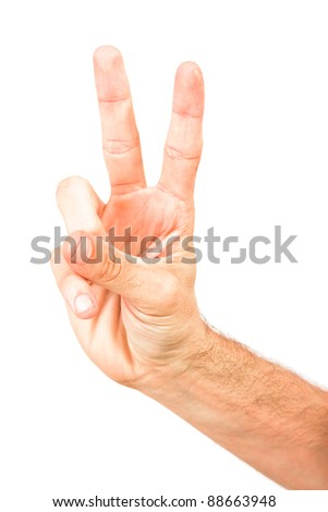 Man hand forming victory sign - male hand isolated on white background - empty space for text - stock photo