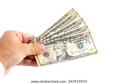 man hand giving 10 dollar bills isolated on white background - stock photo